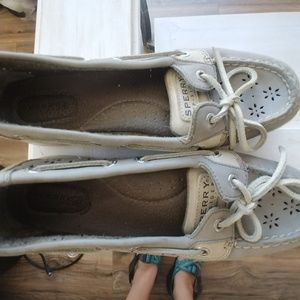 Barley worn like new Sperry grey leather eyelet